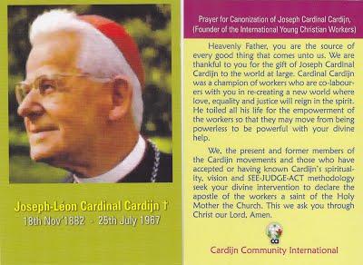 Cardijn canonisation prayer card
